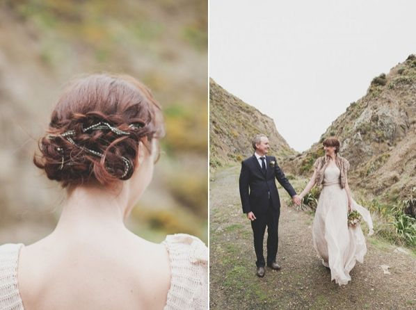 New Zealand Cliffs Wedding Hair Updo Accessories Bride Groom