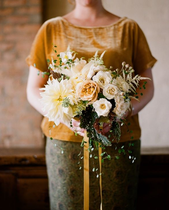 Fall wedding flower ideas once wed nicolette camille flowers wedding bouquet yellow white pink classic elegant brooklyn junglespirit