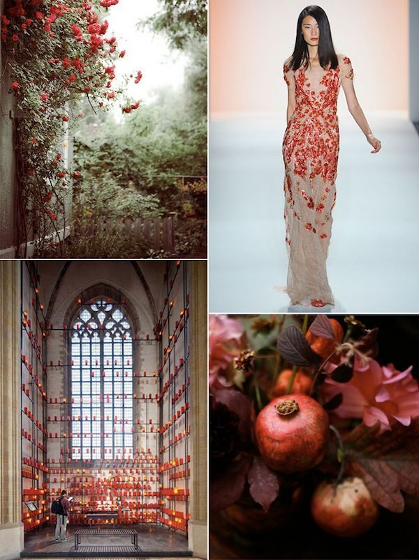 Red Wedding Inspiration Board Flowers Bridesmaid Dresses Ceremony Decor Organic Pomegranate Decor