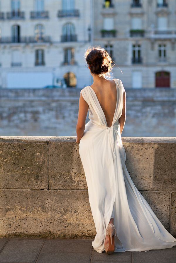 Backless Chiffon Wedding Dress Elegant Backless Wedding Gown