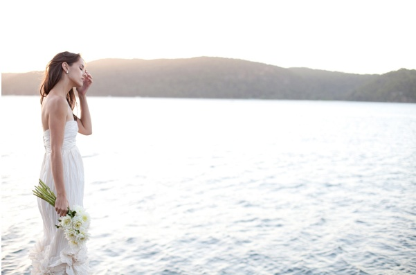 Bay Cottage Wedding Lake Mountains Bride White Bouquet