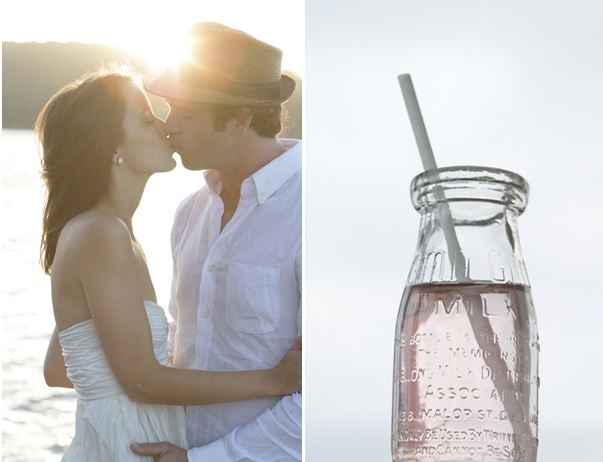 Bay Cottage Wedding Lake Mountains Glass Milk Bottles
