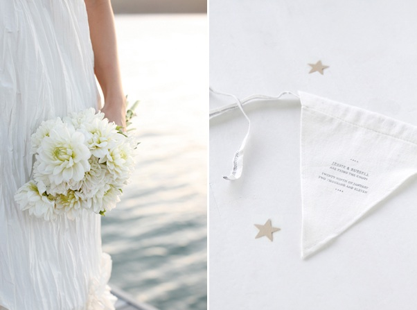 bay-cottage-wedding-white-bouquet-linen-flag-banner