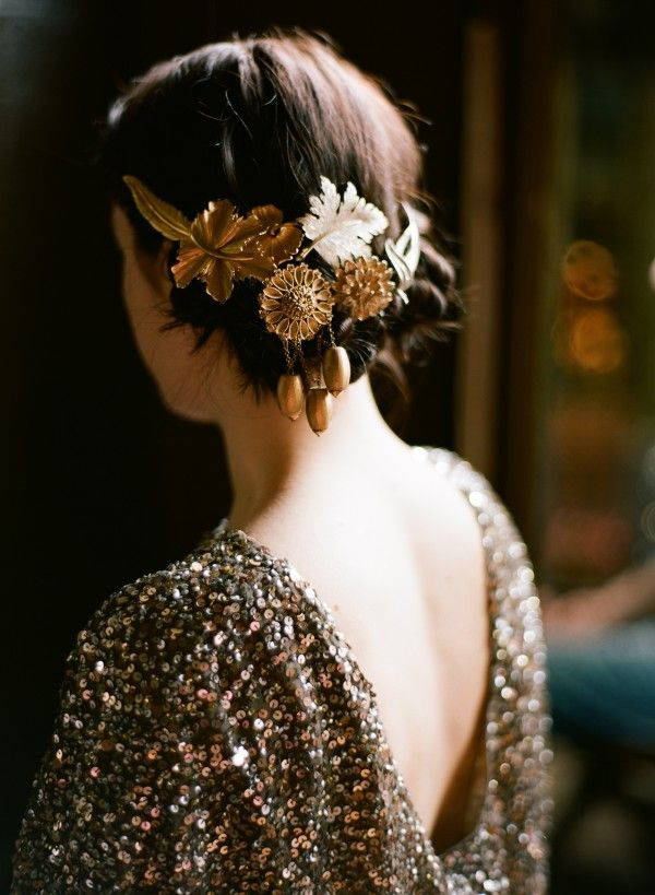 DIY Gold Wedding Hair Accessories
