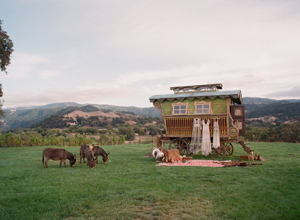 Elopement With A Carefree Spirit Caravan Donkeys Hanging Dresses Picnic