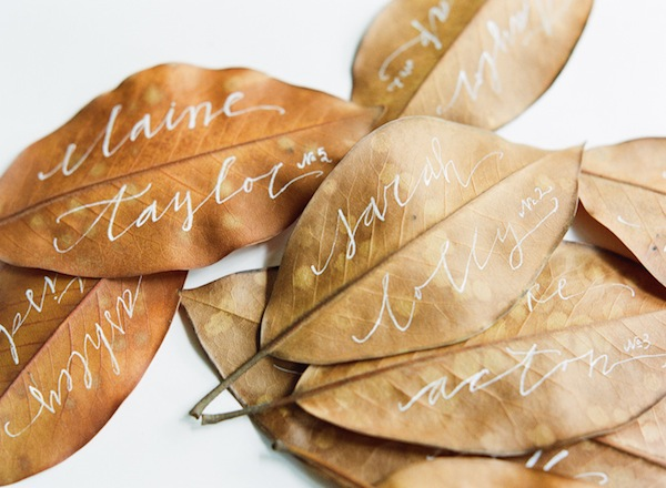 Fall Wedding Escord Card Ideas Leaf Calligraphy Brown Neutral Natural Wedding Reception Decoration Ideas