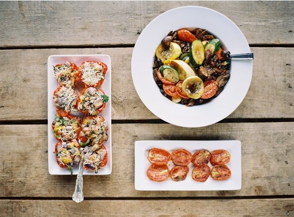family-style-food-heirloom-tomatoes-mixed-vegetables-wedding ...