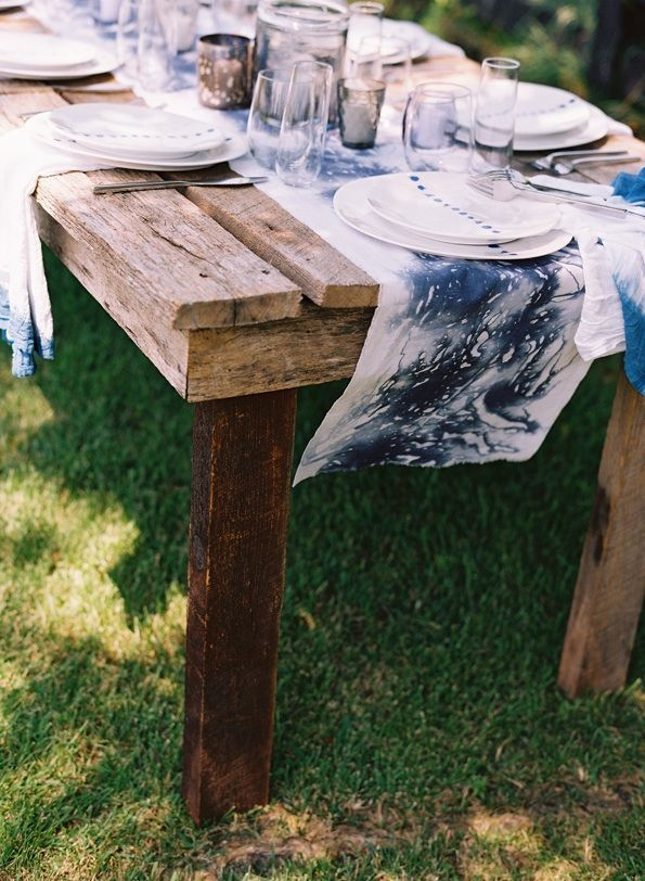 Farmhouse Table Decorations Hand Dyed Blue White Table Runners Napkins China Table Setting