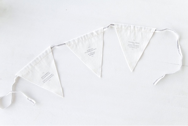 Linen Flag Banner Wedding Reception Decorations Clean White Simple