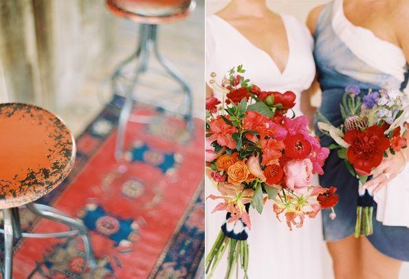 Oriental Rugs Wedding Reception Decorations Bridesmaid Bouquets Red Blue