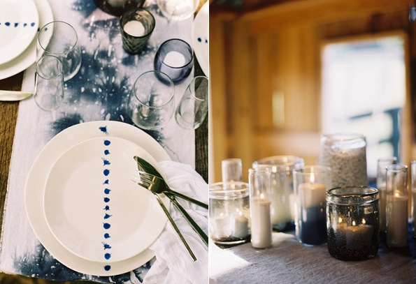 Table Setting Candle Decor Blue White Ombre Linens