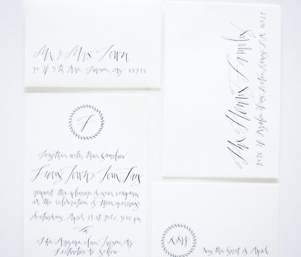 Black And White Wedding Invitations Ideas Calligraphy Betsy Dunlap