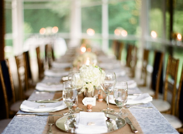 Elegant Virginia Outdoor Wedding Indoor Reception Banquet Family Style Dinner White Brown