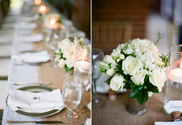 Elegant Virginia Outdoor Wedding Table Reception Burlap Runner White Flower Centerpiece