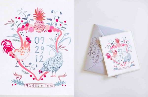 Happy Menocal Watercolor Invitation Crest Chickens Pineapple Fruit Pink Grey Gray Farm Wedding
