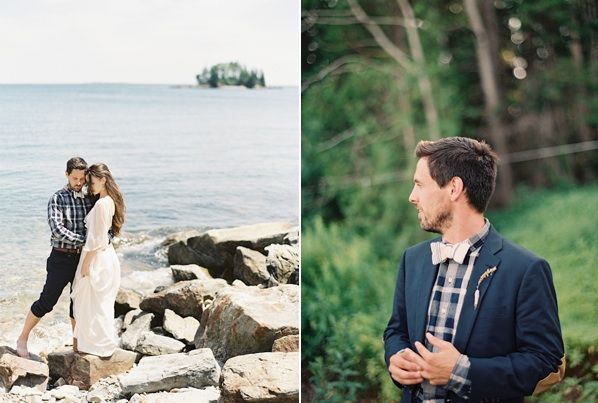 Natural East Coast Maine Wedding Bay Rocks Groom Style Plaid Bowtie