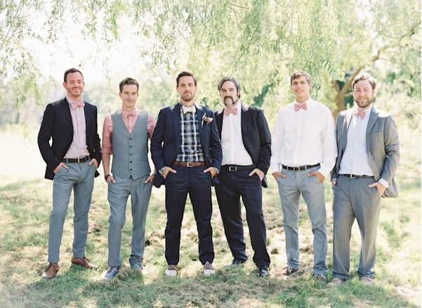 Natural East Coast Maine Wedding Groomsmen Style Plaid Bowtie Uniqie