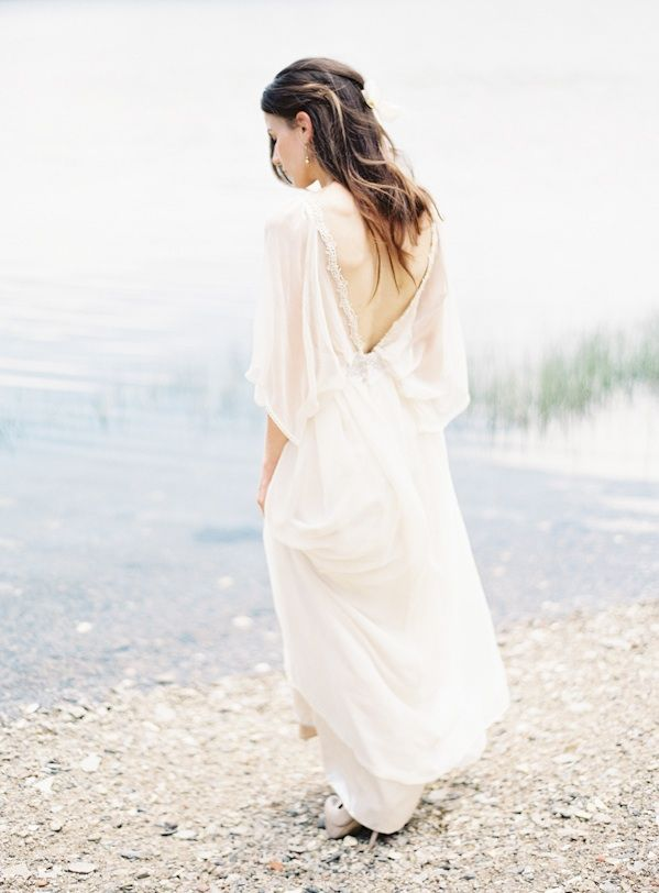 Natural East Coast Maine Wedding Natural Wedding Hair Flowy Wedding Dress