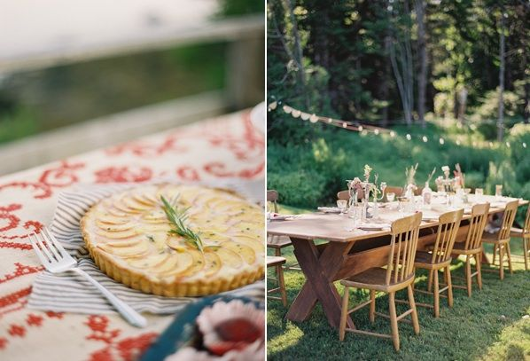 Natural East Coast Maine Wedding Outdoor Reception Dinner Woods Red Blue Green