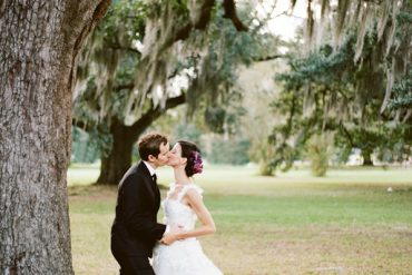 New Orleans French Quarter Wedding Bride Groom Moss Bachground