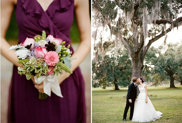 New Orleans French Quarter Wedding Purple Bridesmaid Dress Pink Flower Bouquet