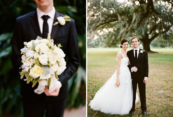 New Orleans French Quarter Wedding Yellow White Bouquet Bride Groom