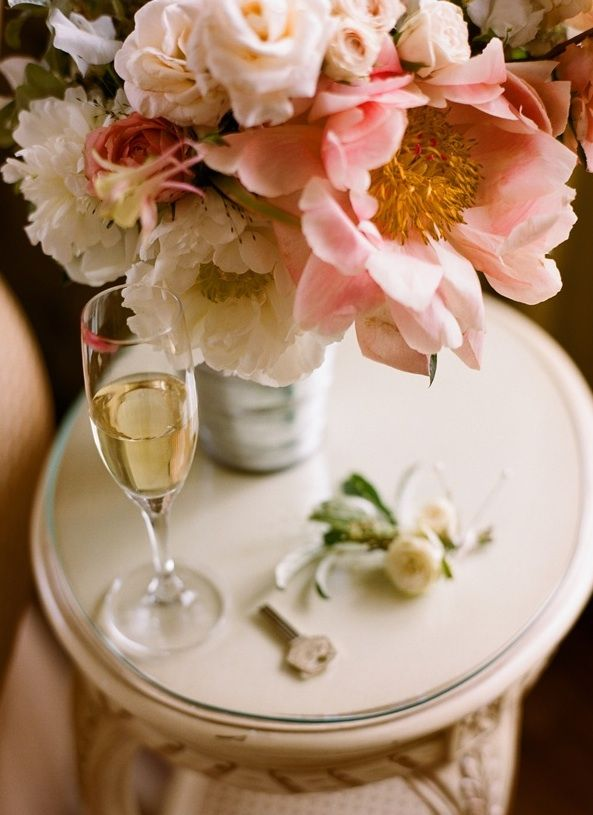 Pink Peony Centerpiece Boutonniere Champagne