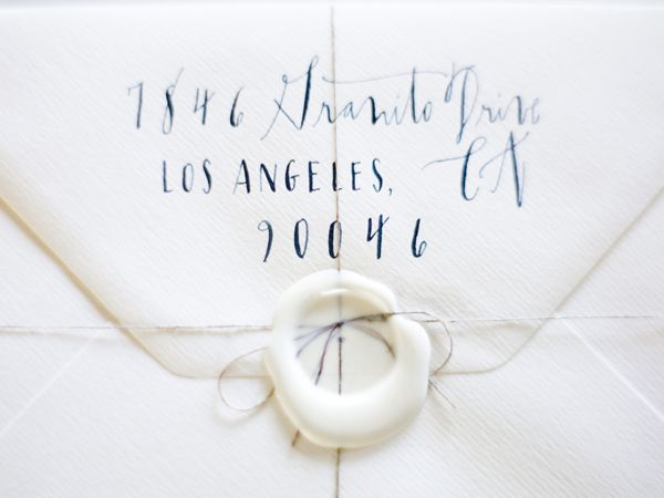 Return Address Calligraphy Wedding Example White Blue