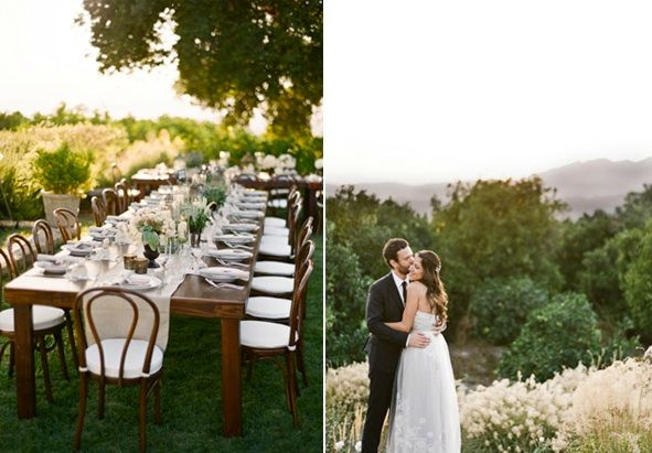 Rustic Ojai Garden Wedding Farmhouse Family Style Reception Tables