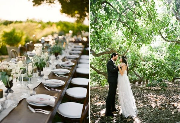 Rustic Ojai Garden Wedding Farmhouse Table Setting Bouquets Place Setting