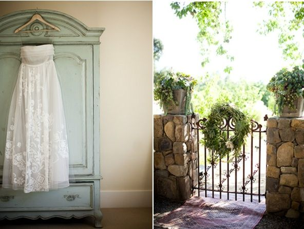 rustic-Ojai-garden-wedding-hanging-dress-ceremony-decorations