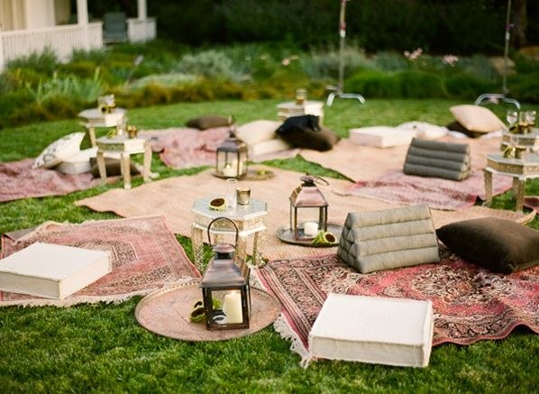 Rustic Ojai Garden Wedding Reception Decor Lanterns Rugs