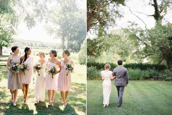 Spring Garden Wedding Pink Brown White Bridedmaid Dresses