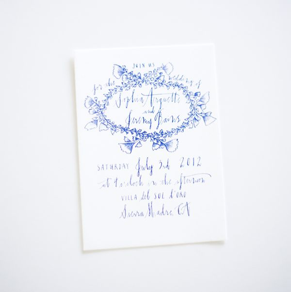 White Wedding Invitations with Blue Calligraphy