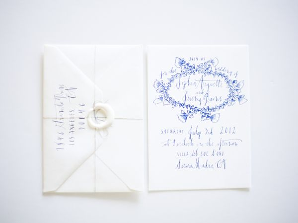 Dark Blue Wedding Invitations: White Wedding Invitations With Blue Calligraphy