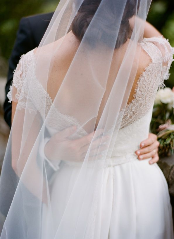 Lace Wedding Dress And Veil : Black and white wedding lace dress elegant veil