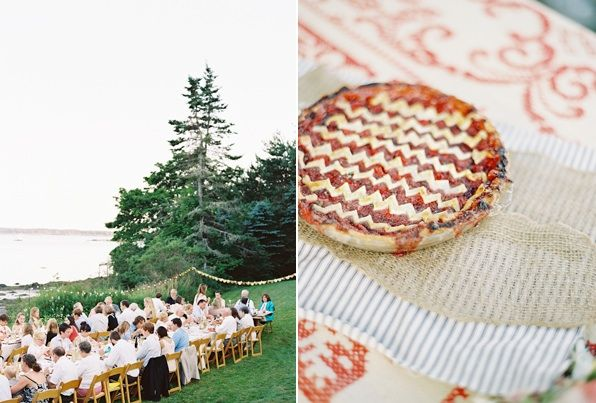 natural-east-coast-maine-wedding-red-american-cherry-pie-dessert-reception-tables