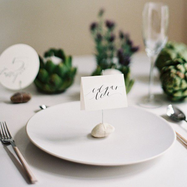 DIY Wire Rock Place Cards Once Wed