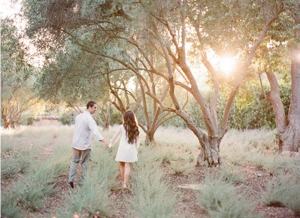 Whimsical Ranch Engagement Lavender Fields Bride Groom White