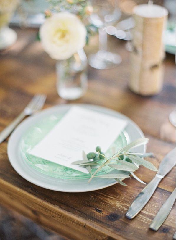 Garden Wedding Inspiration Place Setting Menu Elegant