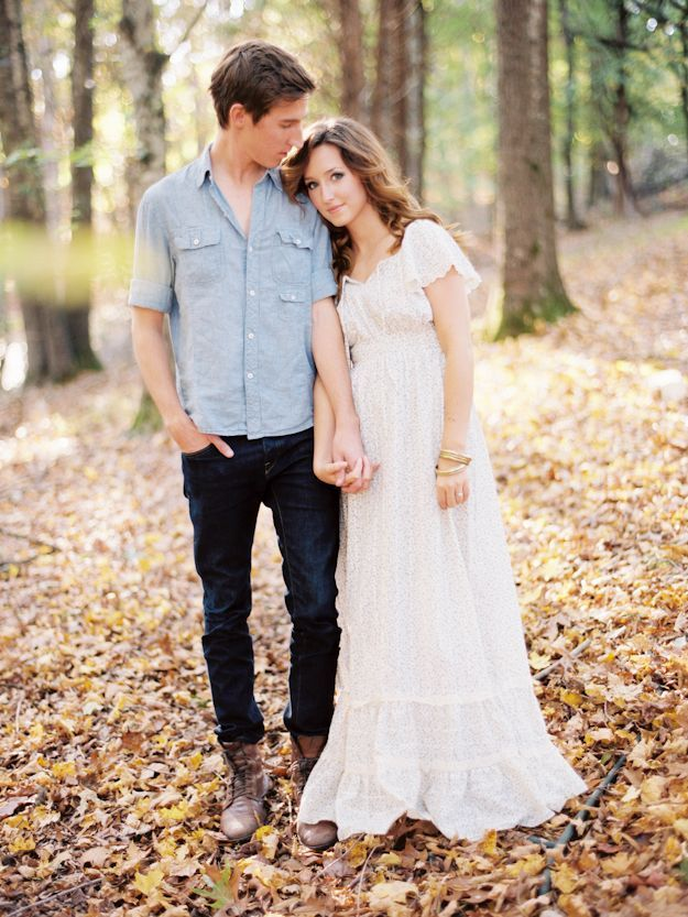 Engagement Couple Fall Autumn Woods Leaves Maxi Dress