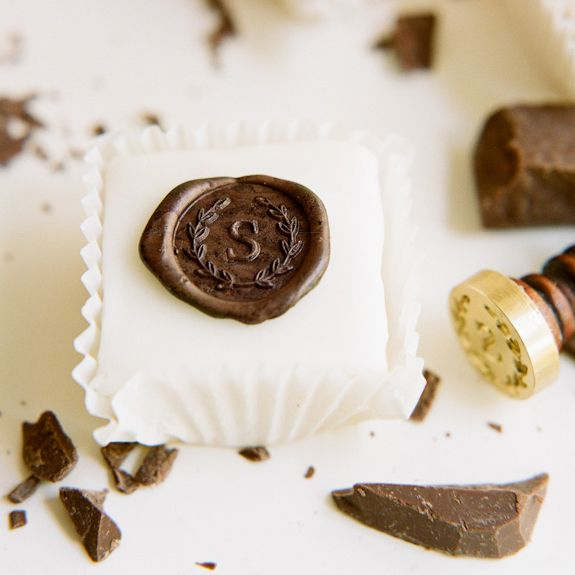 Chocolate Quot Wax Quot Seal Mini Monogramed Cakes Once Wed