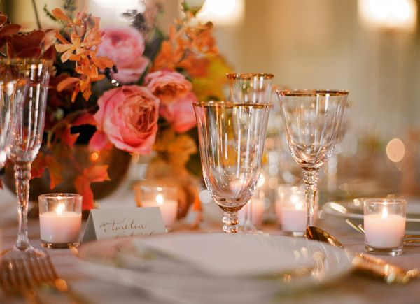 Elegant fall wedding place setting garden roses orchids gold pink