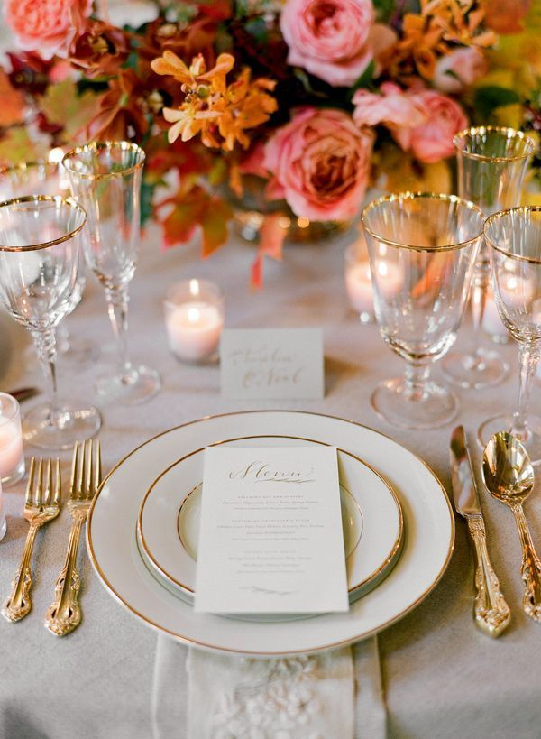 Elegant fall wedding place setting table menu gold once wed Places to have a fall wedding