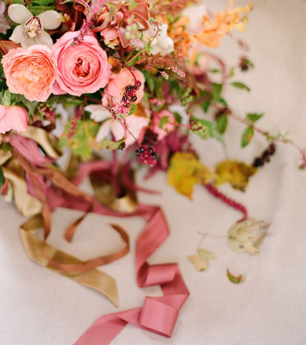 fall-wedding-bouquet-wild-garden-roses-orchids-mauve-berry-peach-coral