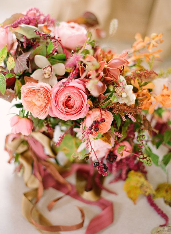 Fall Wedding Bouquets Garden Roses Pink Coral Orange Orchids Mauve Loose