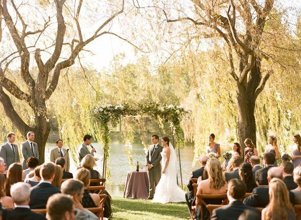 Outdoor Wedding Ceremony: Elegant Purple Wedding At Black Swan Lake