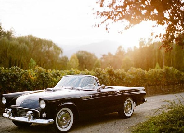 outdoor garden wedding vintage getaway car once wed