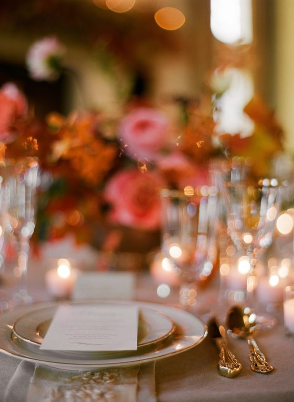 Pink Rose Gold Ivory Orange Fall Wedding Reception Place Setting