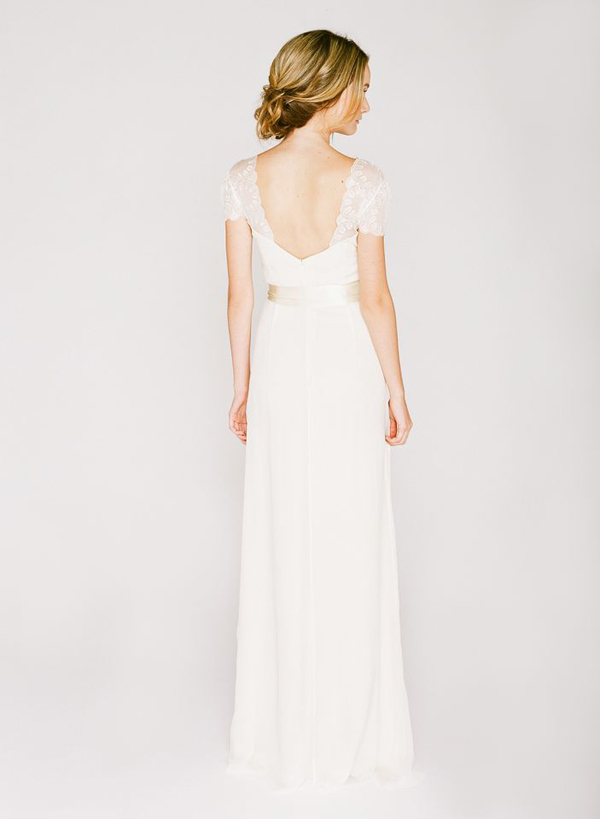 simple cap sleeve saja wedding dress